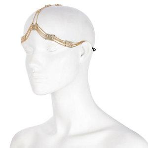 Gold tone chain hair crown