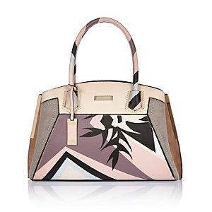 Pink floral structured tote handbag