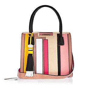 Pink stripe boxy tote handbag