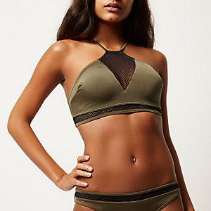 Khaki mesh insert high neck bikini top