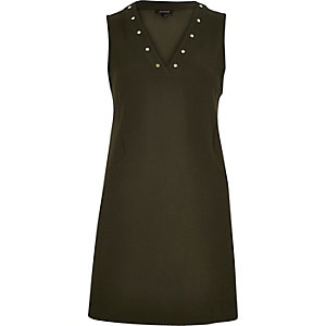 Khaki crepe studded shift dress