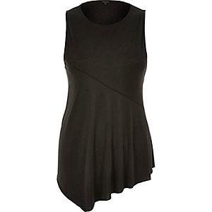 Grey draped front sleeveless top