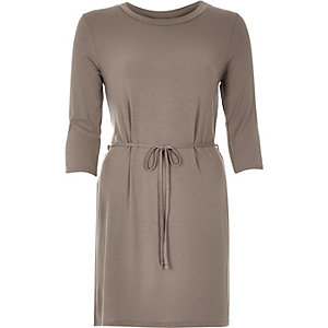 Light brown belted tunic top