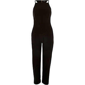 Black smart racer back jumpsuit