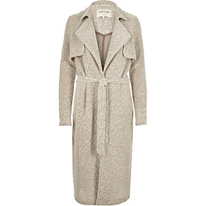 Beige jersey belted trench coat