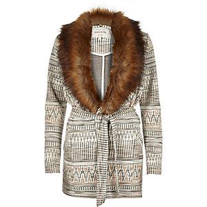 Cream geometric jersey belted jacket
