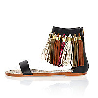 Black and brown tassel sandals