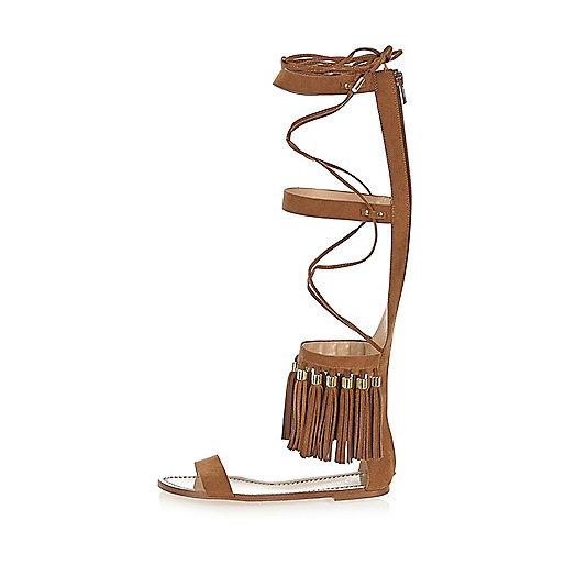 Brown tassel high leg sandals