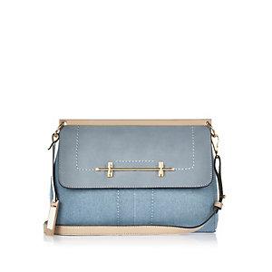 Blue denim bar front handbag