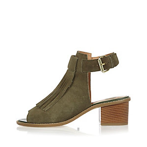 Khaki suede fringed block heel sandals