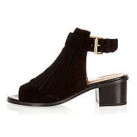 Black suede fringed block heel sandals