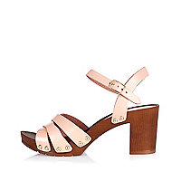 Pink leather clog sandals