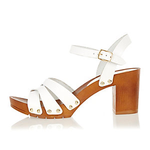 White leather clog sandals