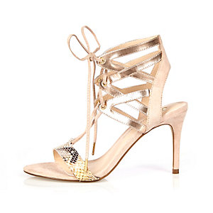 Gold caged heel sandals