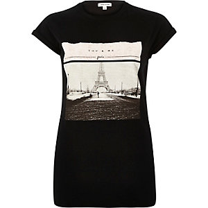 Black Paris sequin print fitted t-shirt
