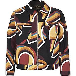 Navy geometric swirl pattern jacket