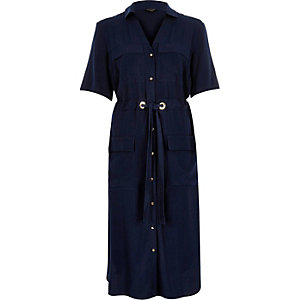 Navy military midi shirt dress