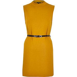 Dark yellow belted sleeveless top