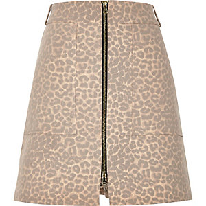 Beige faded leopard print A-line skirt