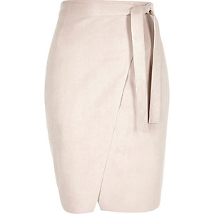 Light pink faux-suede wrap pencil skirt