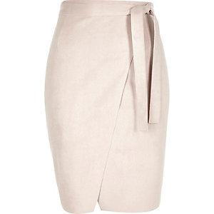 Light pink faux-suede wrap pencil skirt