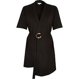 Black buckle wrap short sleeve top