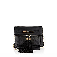 Black mini cross body tassel handbag