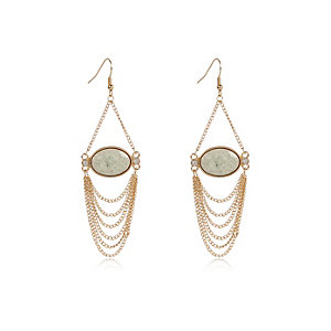 Gold tone draped dangle earrings