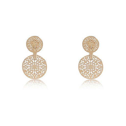 Gold tone filigree front and back earrings