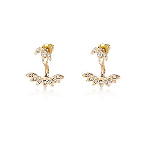 Gold tone leaf front and back earrings