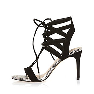 Black caged heel sandals
