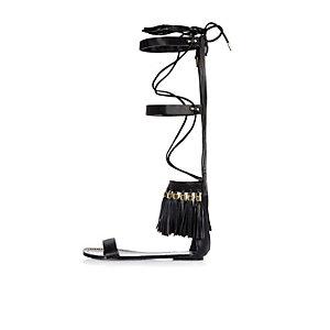 Black tassel high leg gladiator sandals