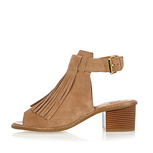 Beige suede fringed block heel sandals