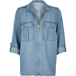 Light blue denim zip-up shirt