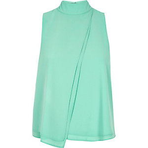 Green chiffon high neck top