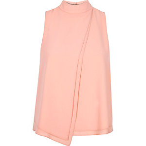 Pink chiffon high neck top