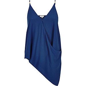 Blue asymmetric draped cami