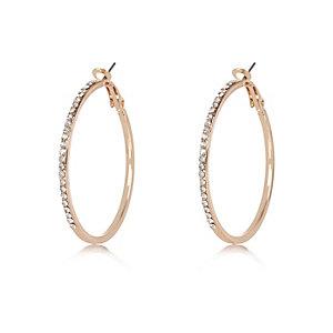 Gold tone gem embellished hoop earrings