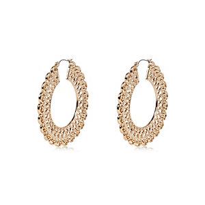 Gold tone filigree hoop earrings