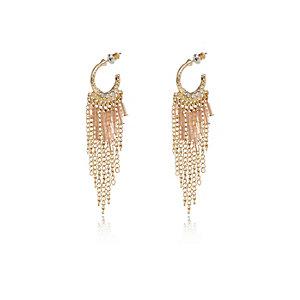 Gold tone beaded chain hoop earrings