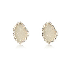 Grey embellished stone stud earrings