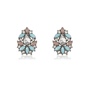 Silver tone turquoise cluster earrings