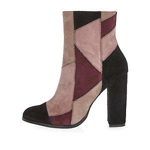 Pink suede patchwork block heel boots