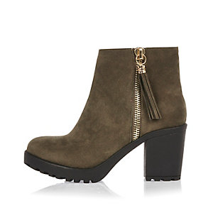 Khaki cleated sole boots