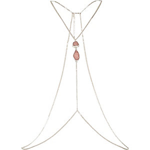 Silver tone semi precious body harness