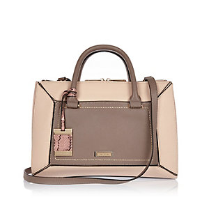 Brown structured tote handbag
