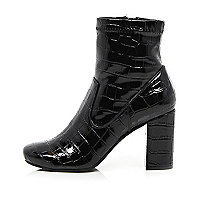 Black patent croc heeled ankle boots