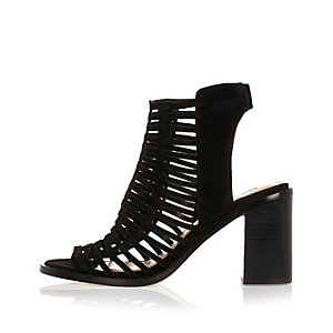 Black suede caged heeled shoe boots