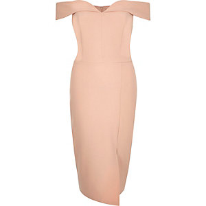 Light pink bardot bodycon midi dress