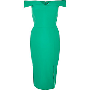 Bright green bardot midi dress